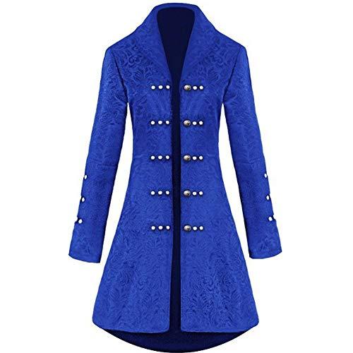H&ZY Damen Steampunk Vintage Jacke, Kleid Halloween Kostüm Retro Gothic Victorian Frock Coat Uniform - blau - X-Large