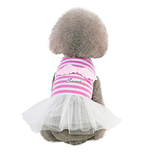 Etophigh Pet Prinses Jurken Lente Zomer Engel Vleugels & Zoete Gauze Sling Rok Mouwloos Jurk voor Kleine, Medium, Grote Honden Puppy Kostuums, L, roze