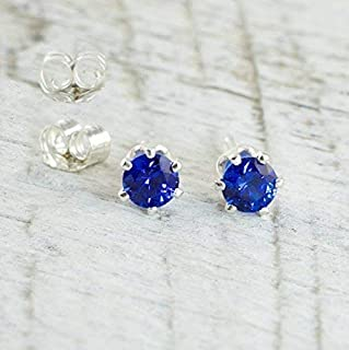 Lab Created Sapphire 4mm Sterling Silver Stud Earrings September Birthday Gift for Women