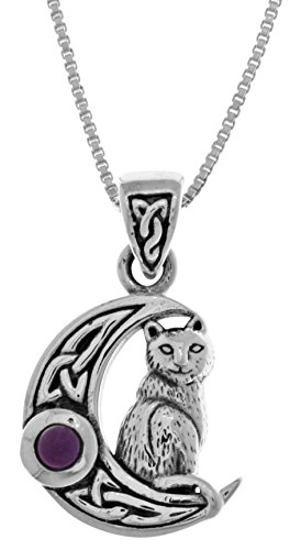 Jewelry Trends Sterling Silver Celtic Moon and Cat Pendant with Amethyst on 18' Necklace