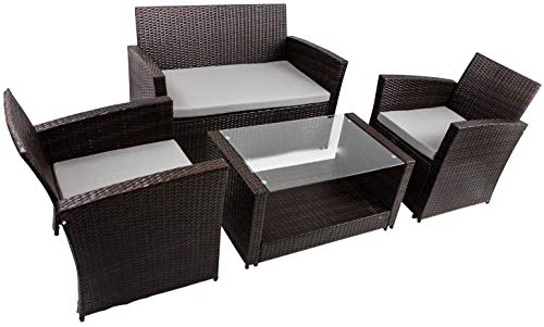 AVANTI TRENDSTORE - Andora - Set di mobili da Giardino/Balcone in polirattan di Colore Marrone Scuro. Tavolino con Piastra in Vetro e Cuscini compresi.