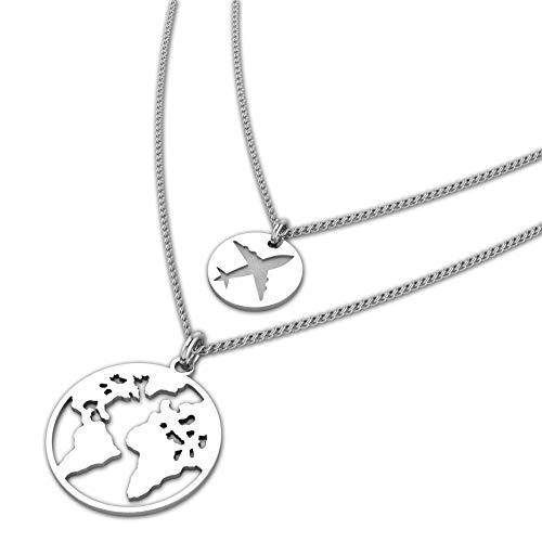 Weltkugel Kette aus Edelstahl - Moderne Halskette mit Globus Anhänger - Dein Begleiter auf Reisen