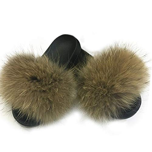 MagicXle Sommer Frauen Fuchspelz Hausschuhe Echt Fox Haarspangen Weibliche Pelzigen Indoor Flip Flops Casual Strand Sandalen Flauschigen Plüsch Schuhe