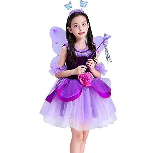 DXDUI Disfraces De Halloween para Niños Bruja Flor Hada Elfo Mariposa Cosplay Alas De Fantasía Suministros Lazo Encaje Escenario para Niños, Morado,160cm