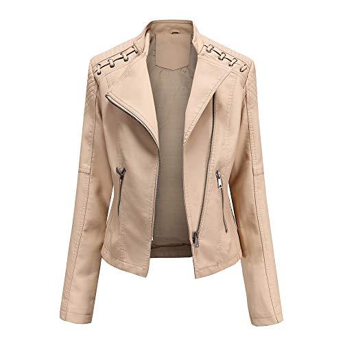 Geagodelia Giacca Donna Elegante Primaverile Corta in PU Similpelle con Zip Tasche Laterali Casual per Moto (Bianco, S)