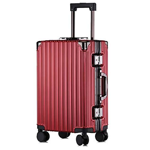 ZFWB Maleta Maleta con Estructura de Aluminio Maleta de Viaje Hombre y Mujer 22' Red