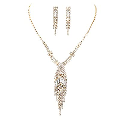 Rosemarie Collections Women's Fringe Art Deco Style Rhinestone Baguette Necklace and Earrings Set (Gold Tone)