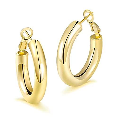 HDBD Pendientes Pendientes de aro de Oro Grueso - Aros de Oro Gruesos y Ligeros para Mujer Pendiente de Tubo Grande hipoalergénico de 30 mm