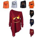 LOPILY Halloween Shirts Kürbis Kostüm Damen Schulterfrei 3D Sweatshirts für Halloween EIN...