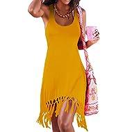 pinziko Women's Summer Sleeveless Beach Dress Bikini Cover Up Tank Vacation Dresses