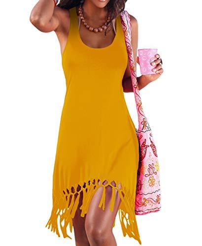 pinziko Women's Summer Beach Dress Bikini Cover Up Casual Vacation Short Dresses Yellow