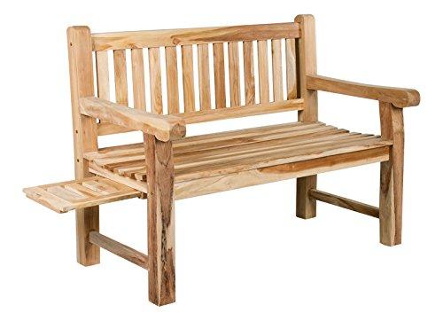 Banc Trendy-Home24 Bento - 2 places - En bois de teck massif et stable - Banc de jardin - Environ 120 cm de large - Avec tablette