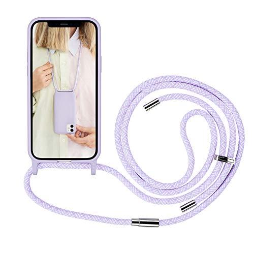 Artwizz HangOn Case geeignet für iPhone 12/12 PRO (6.1') - Elastische Schutzhülle aus Silikon als Handykette zum Umhängen mit Band - Purple Sky