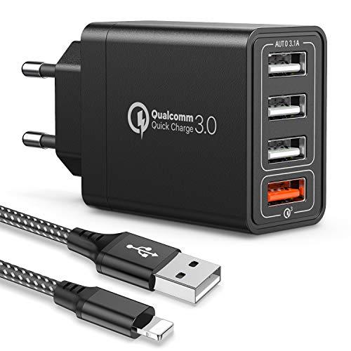JOOMFEEN Quick Charger 3.0 Caricatore USB da Muro,30W/6A QC 3.0 Carica Rapida 4 Porte Caricabatterie USB Multiplo da Parete con Cavo USB per iPhone XS/XS Max/XR/X/8/8 Plus/7/6s/6s Plus/6/5s,Pad,Pod