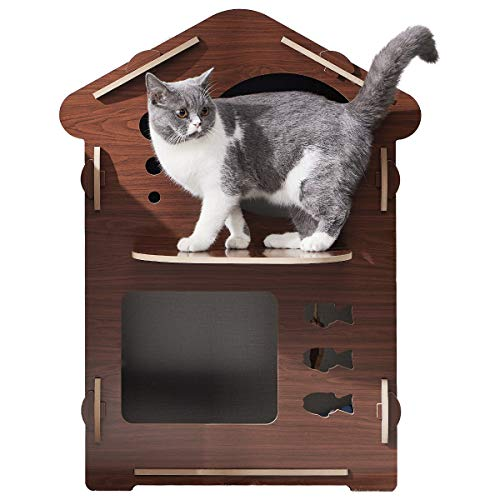 FVANF Luxury Double Layer Cat House, Kitty House, Cat Shelter with Hanging Cat Toy and Cat Scratcher, Cute Pet Cat Bed with Soft Cushions, Easy to Install with The Cork - Brown