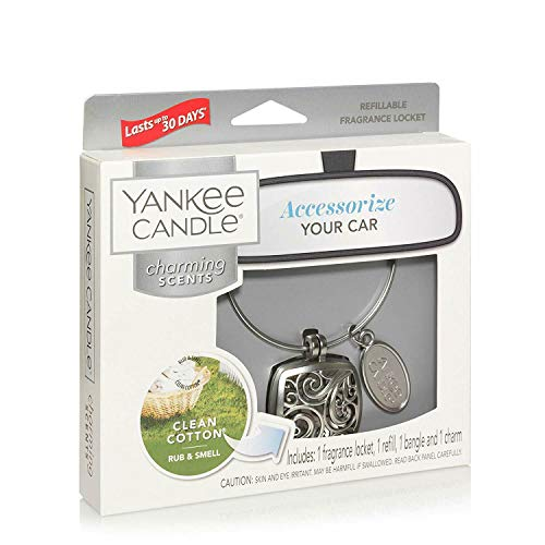 Yankee Candle Long Lasting Clean Cotton Scented Car Air Freshener Locket Kit with Refill & Charm