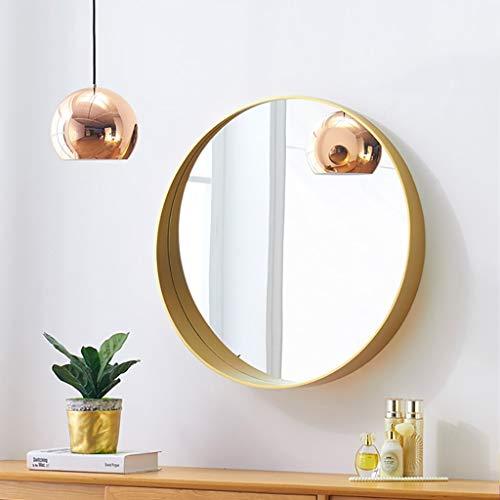 Badkamerspiegel, Europese spiegel, rond, wandspiegel, massief houten frame, make-upspiegel, cosmeticaspiegel, cosmeticaspiegel, vergrotingsspiegel, hangspiegel 50 * 50CM B
