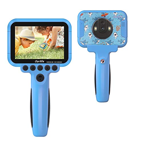 Kids Video Camera for Boys, Ourlife Kid Video Digital Camera with 60 X Magnifier Function and 3.5'' Large Screen, 1080P Kids Movie Camera with 16GB Tf Card, Giftable Camera for Christmas/Birthday
