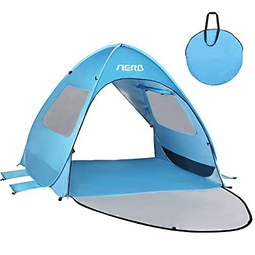 Aerb Strandmuschel: UV 50 Sonnenschutz Strandmuschel Pop Up mit 360° Panorama Sicht für 2 Personen Strandzelt Extra Leicht