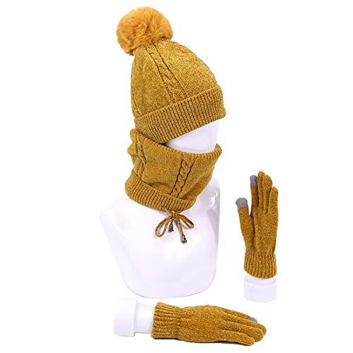 Mütze Beanie Hut Kappe Cap Winter Frauen Beanie Pom Hut Schal Handschuhe Set Warme, Gestrickte Outdoor-Häkel-Skimütze Mit Dickem Futter Softe I.