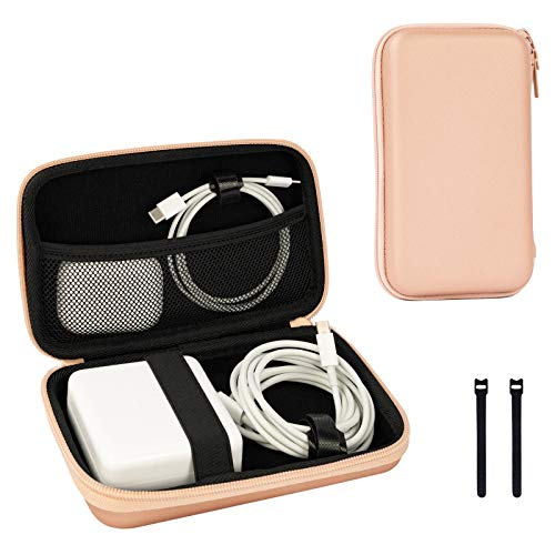 ProCase Hard Travel Carrying Case for MacBook Air/Pro Charger Adapter Cables Accessories, Portable Hard Shockproof Shell Protective Cover -Rosegold