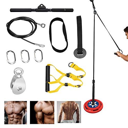 JEMPET Poleas Sistema Gimnasio para Casa | Fitness Polea Cable Maquina Musculacion Entrenamiento de Fuerza del Brazo | Triceps Accesorio de Entrenamiento para LAT Pulldown