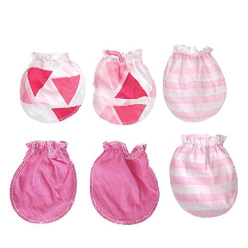 Lyguy baby handschoenen, 3 paar baby anti-krabben handschoenen pasgeboren bescherming gezicht katoen Scratch wanten