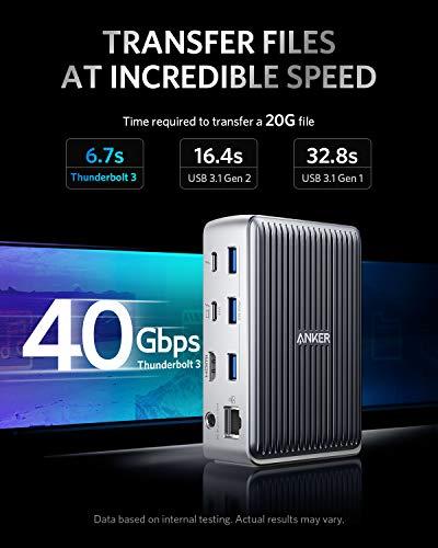 Anker PowerExpand Elite 13-in-1 Thunderbolt 3 Docking Station für USB-C Laptops, Laden mit 85W für Laptop, mit 18W für Smartphone, 4K HDMI, 1Gbps Ethernet, Audio, USB-A Gen 1, USB-C Gen 2, SD 4.0