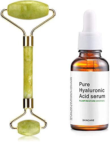 Endim Kit Jade Roller Visage,Rouleau de Jade Pierre Massage & Hyaluronic Acid Serum, Sérum Acide Hyaluronique pour Lignes Fines Anti-Age Anti