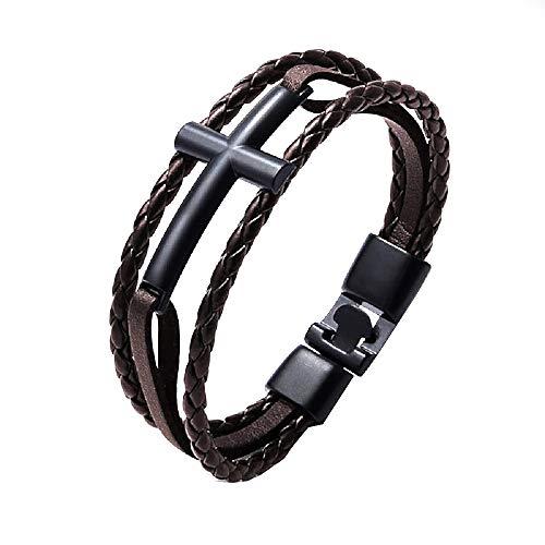Heren en dames armband - kruis - armband - synthetisch leer - multiwire - zwart - leer - bruin - kerst - origineel cadeau idee
