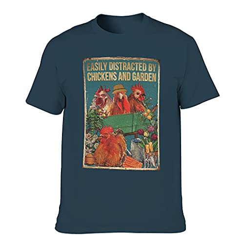 T-HGeschäft Camiseta de manga corta para hombre, diseño vintage de pollos y jardín distraído azul marino XXXXXL