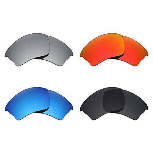 MRY 4Paar Polarisierte Ersatz Gläser für Oakley Half Jacket Xlj sunglasses-stealth schwarz/fire rot/ice blau/silber titan