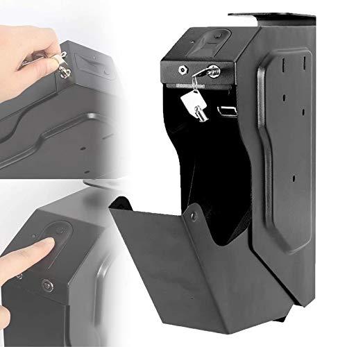 LXNQG Portátil Biométrico de Huellas Dactilares Arma de la Caja, Caja de Seguridad de la Pistola con la Huella Digital y la Llave de Repuesto, la Huella Digital Seguro para el Escritorio Armario