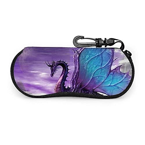 AOOEDM Estuche para anteojos Purple Dragon con mosquetón, estuche blando para gafas de sol con cremallera de neopreno portátil ultraligero