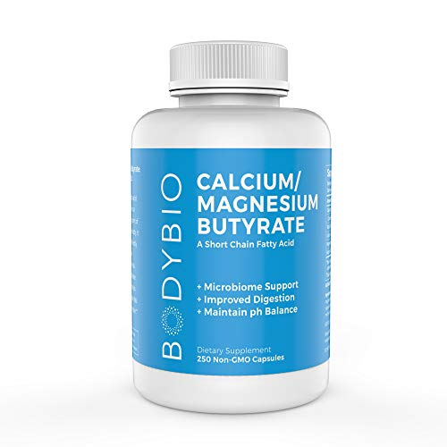 BodyBio Butyrate with Calcium & Magnesium - Supports Healthy Digestion, Gut & Microbiome - Increases Leptin Production for Appetite Control - No Fillers or Additives - 250 Capsules