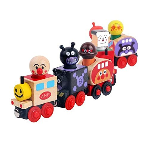 Rain city Magnetic Anpanman Train 6 Cars Children Wooden Toys Fall Resistant Suitable for Babies Over 3 Years Old