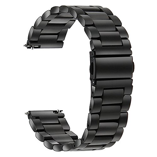 TRUMiRR kompatibel für Galaxy Watch3 41mm/Garmin Vivoactive 3 Armband, 20mm Quick Release Uhrenarmband Edelstahl Metall Ersatz Band für Samsung Galaxy Watch 42mm, Garmin Vivoactive 3, Ticwatch E