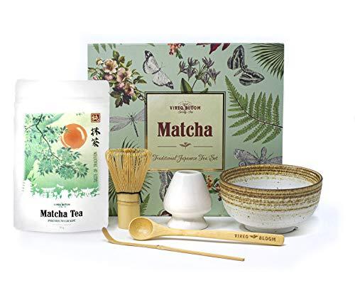 Vireo Bloom El Té Verde Matcha Set - 50g polvo de calidad Ceremonial de té con cuchara de bambú, Cuchara, tenedor, bata con recipiente para servir Chawan Matcha - Eco-Caja de regalo