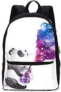 Panda Bottle Galaxy Backpack Girls Bookbag Shoulder Bag Casual Daypack 17 Inch Plus Laptop Bag for 1-5th Grade