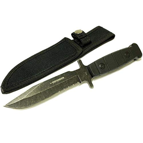 Defender 9-inch Stainless Steel Hunting Knife with Stone Washed Blade Serrated Bottom Stainless Steel