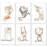 6er Set Bilder Poster Kinderzimmer Deko für Mädchen und Junge, Bilder Babyzimmer Deko DIN A4, Ideal für Mädchen Geschenke und Wandtattoo Kinderzimmer