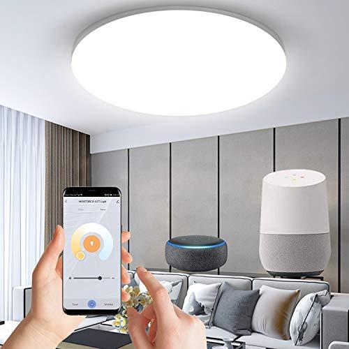 Anten Alexa Smart home 24W Deckenlampe,led deckenleuchte wifi farbwechsel Badlampe Steuerbar via App, Kompatibel mit Alexa Google Home,für badezimmer,wohnzimmer,esszimmer,küche, garage,flur,Ø27cm