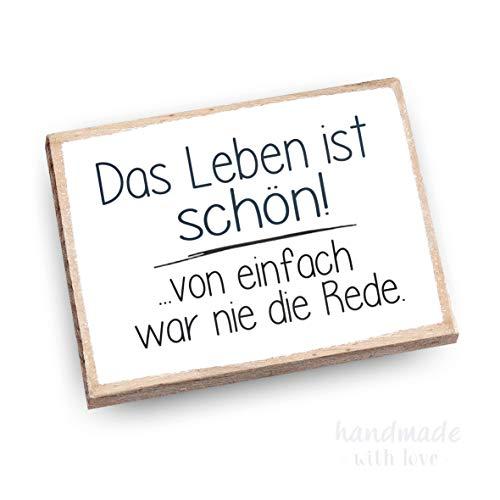 wood and color - Kühlschrankmagnet mit Spruch   Handmade aus Buchenholz als tolle Geschenkidee   (Das Leben ist schön)