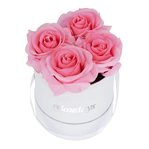 Relaxdays Rosenbox rund, 4 Rosen, stabile Flowerbox weiß, 10 Jahre haltbar, Geschenkidee, dekorative Blumenbox, rosa