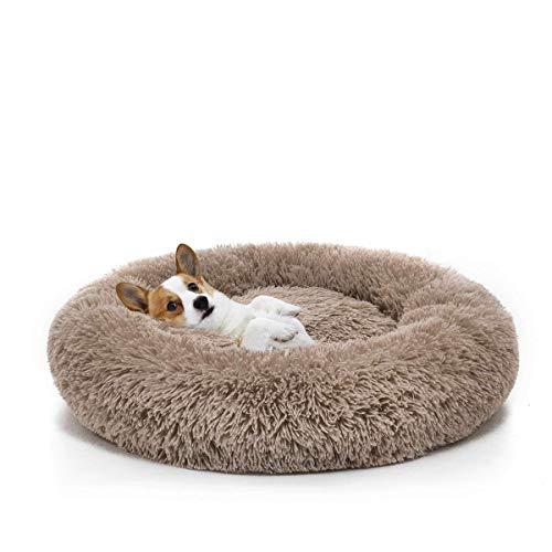 Orthopädisches Hundebett aus Kunstfell, rund, Hundekorb Hundekissen für mittlere und groß Hunde,Sehr weich, Maschinenwaschbar, Donut-Kissen-L-Braun
