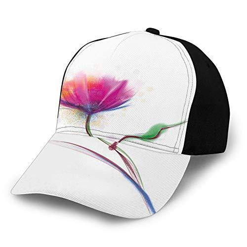 Gorra de béisbol unisex con diseño de amapola simplista y pureza y gracia símbolo amor y amistad