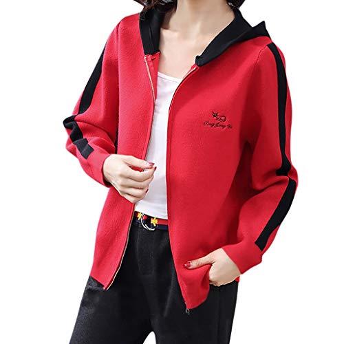 Vrouwen Sport Jas, Dames Lange Mouw Letter afdrukken Hooded Blouse Bovenkleding Casual Rits Pak Jas Jas met Pocket
