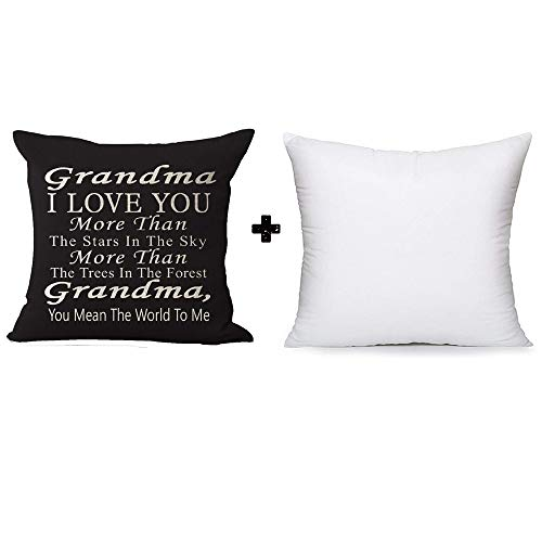 Best Gift Grandma I Love You More Than The Stars in The Sky You Mean The World to Me Blessing Cotton Linen Throw Pillow Case Cushion Cover Home Office Decorative Square 18 Inches with Pillow Insert