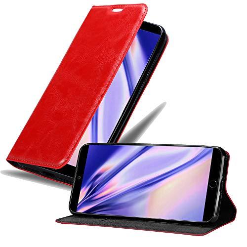 Cadorabo Hülle für MEIZU 15 in Apfel ROT - Handyhülle mit Magnetverschluss, Standfunktion & Kartenfach - Hülle Cover Schutzhülle Etui Tasche Book Klapp Style