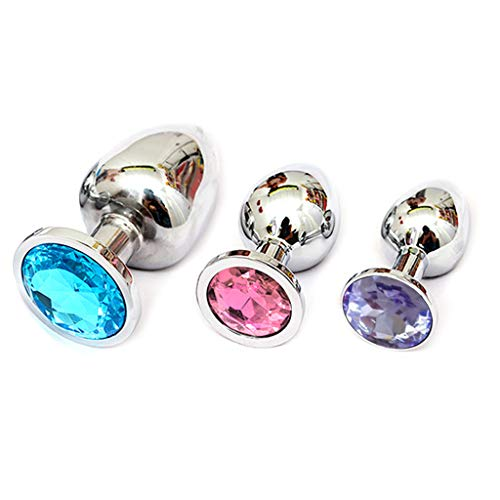 New Qisuw 3 Pcs Round Shaped Amal Plug with Jewelry Base - Buttt Beauty Diamond Six Toys for Men Gaa...